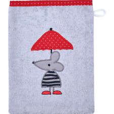 Wörner Waschhandschuh 2er-Pack mit hochwertigem Stickmotiv, grau/rot