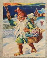 Postcard ~ 11X14cm Christmas Gnome Basket Of Presents