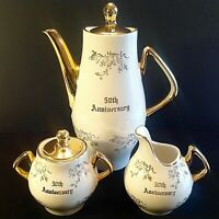 COFFEE SET 50TH ANNIVERSARY PLATINUM ROSE 22KT GOLD SET OF 3 COLLECTIBLE VINTAGE