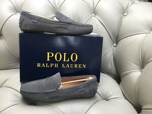 Polo Ralph Lauren Soft Grey Suede Loafers Driving Shoes UK 10 EU 44