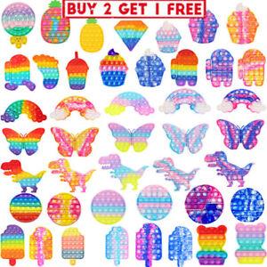Popit Fidget Toy Push Bubble Sensory Stress Relief Kids Family Game Rainbow Gift
