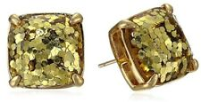 Kate Spade New York Gold Glitter Brass Small Square Stud Earrings