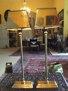Pair Coach House Elegant Tall Laquered Brass Slim Table Lamps Brass Shades