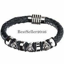 "Men Women Braided Leather Bracelet Egyptian Pharaoh Charm Bangle Wristband 8.4"""