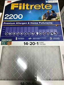 3M Filtrete 4 Pack 14 x 20 x 1 Air Filter 2200 MPR MERV 13 HVAC Furnace Allergen
