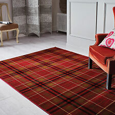 Flair Rugs Glen Kilry Tartan Check Rug Red 200x290cm (7x10')