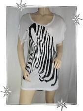 Haut T-shirt Fantaisie Long  Blanc Noir Motif Zèbre Strass Linette & Tonka Neuf
