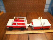 """1992 FISHER PRICE """"LITTLE PEOPLE"""" Red & White Jeep & Popup Camper #992"""