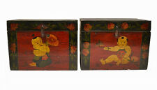 Pair Chinese Antique Wooden Storage Wedding Box Chest w/Painted Figure Mar9-06