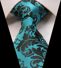 Aqua Mens Tie - Teal Turquoise Green & Black Silk Floral Paisley Gift Necktie