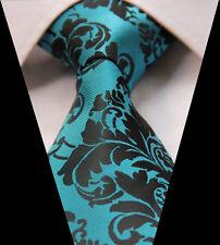 Black & Turquoise Aqua Green Blue Mens Tie Wedding Silk Floral Paisley 610