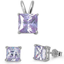 """NEW ITEM! Light Lavender .925 Sterling Silver Earrings & Pendant Set .5"""""""