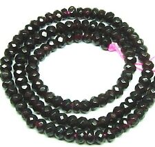 """15.5"""" NATURAL SHINY FACETED Red Garnet Roundel ~120 Beads 3.5x5mm K2426"""