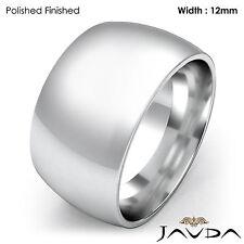 Huge Mens 12mm High Polish Platinum Plain Dome Wedding Band Ring 31.2gm 12-12.75