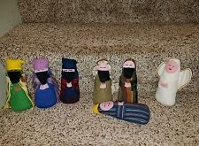 "Children's Cloth Nativity LOT 7 Figures handcrafted fabric cloth EXC 6.5"" j85"