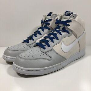 Nike SB Dunk High White Canvas Blue Neutral Grey 317982-125 Men's Size 13