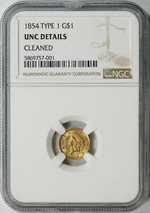 1854 Type 1 Gold Dollar $1 NGC UNC Details - Cleaned