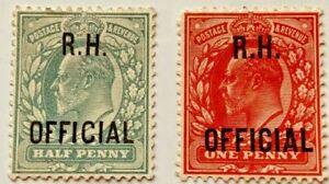 Royal Household Officials - SgO91-SgO92, 1/2d Green / 1d scarlet Mint LHM KEV11