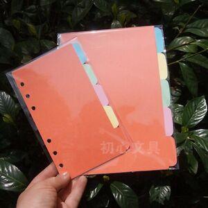 5Pcs A5/A6 Blank Index Multi-Coloured Tabs Divider Insert Refill Organiser #UK