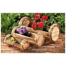 Log Wooden Barrel Flower Planters Set Of 3