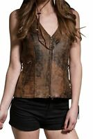 Womens Ladies Vintage Vest Brown Two Pocket Side Lace Real Leather Zip Waistcoat