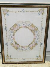 VINTAGE ART DECO EMBROIDERED PICTURE - ROSES & DAISIES