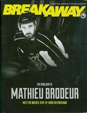 2015 Chicago Wolves AHL Hockey Program/Breakaway Magazine Mathieu Brodeur