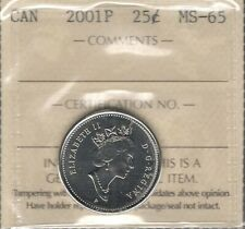 2001P Twenty-Five Cents ICCS MS-65 GEM BU * STUNNING Elizabeth II Canada Quarter