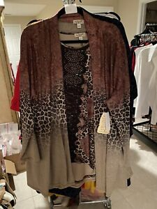 One World Light Weight Cardigan  Size 3X With Long Sleeve Shirt Size 3x (P4)