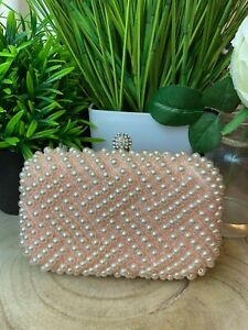 Jewel Peach Pearl Embellished Occasion Clutch Ladies Wedding Bags Gift Boxed