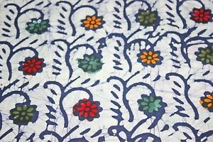 Navy Blue Grey Indian 100% Cotton Hand Block Printed Dress Material Craft Fabric