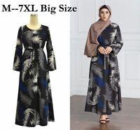 Plus Size Women Muslim Kaftan Printed Abaya Jilbab Long Maxi Dress Robe Islamic