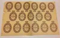 """Tuborg Denmark Vintage x17 Beer Labels On Sheet Unused Imperial Stout 1950s """"Øl"""""""