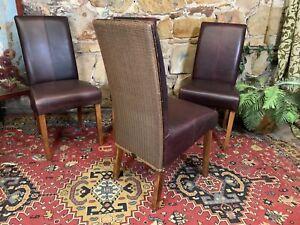 4 x Stylish Genuine Lloyd Loom Dining Chairs~Leather & Rattan~Hamptons