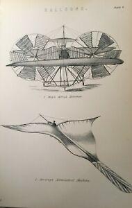 ANTIQUE PRINT C1870'S BALLOONS MOY'S AERIAL STEAMER BREAREY'S AERONAUTICAL ART