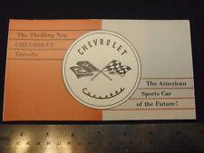 "NOS Original RARE 1953 Sales Brochure ""The Thrilling New CHEVROLET Corvette"" 53"