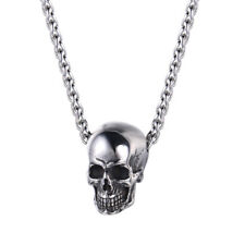U7 Stainless Steel Skull Skeleton Charm Pendant Necklace Punk Style Mens Jewelry