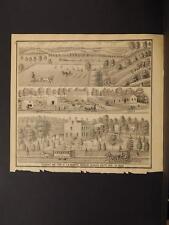 Ohio Cuyahoga County Map Residence Farm of T.N. Brainard  Engraving 1874  K11#98
