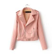 Women leather jackets Rivet leather coats female punk coat pink M