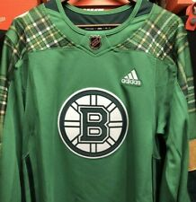 $130 Adidas Authentic Boston Bruins St Patrick's Day Green Hockey Jersey S 46