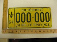 1964 64 QUEBEC CANADA SAMPLE LICENSE PLATE 000-000