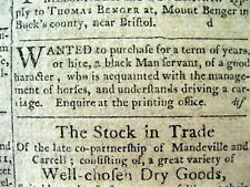 1794  Philadelphia PENNSYLVANIA newspaper w AD requesting a SLAVE WANTED TO BUY