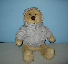 "Baby GAP Pudgie Tummy Teddy Bear 14"" Bean Plush in Grey Puffy Hoody Jacket"