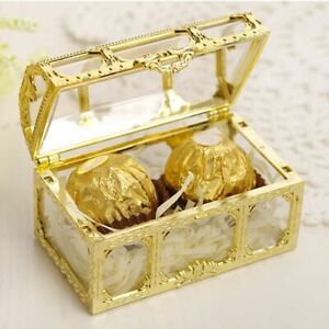 Plastic Candy Treasure Boxes Wedding Vintage Packaging Small Gift Chocolate Gold