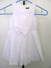 UNITED COLORS OF BENETTON White Pleated Cotton Blend Summer Dress With Front Bow