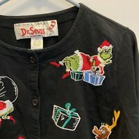 Michael Simon Dr Seuss Grinch Cardigan Christmas Large Embroidered Max Presents