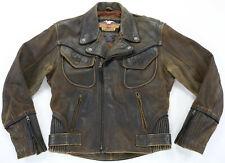 vintage mens harley davidson billings jacket S brown distressed zip bar braided