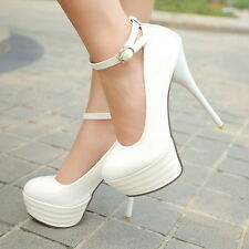 Womens High Heel Stiletto Sexy Platform Ankle Strap Pump White Shoes Plus Size 9