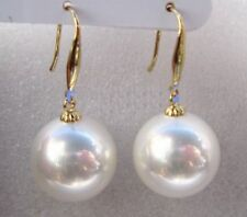 Huge AAA 16X16MM PERFECT White round shell pearl earrings 14K Yellow GOLD