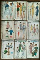 Vintage Lot (9) 1960's Patterns SIMPLICITY Size 14- Rockabilly? Uncut / FF - #23